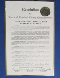 Thumbnail View of Congratulatory Resolution Presented to Attorney General Marc Dann