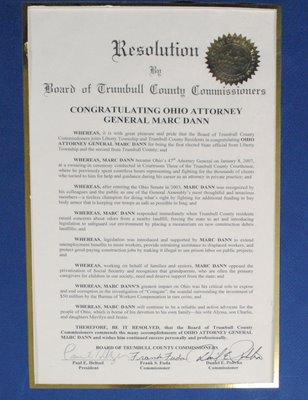 Historical Preservation: Congratulatory Resolution Presented to Attorney General Marc Dann