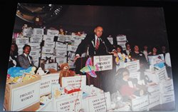 Thumbnail View of Photograph of Attorney General Lee Fisher Speaking at Project Wish List