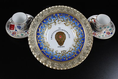 Historical Preservation: Turkish Porcelain Dish and Tea Cups of Attorney General Jim Petro